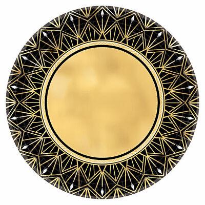 Teller Hollywoodparty gold-schwarz Ø18cm, Papierteller Mottoparty VIP