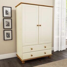 Hamilton 2 Door 2 Drawer Combi Short Wardrobe in Cream and Pine