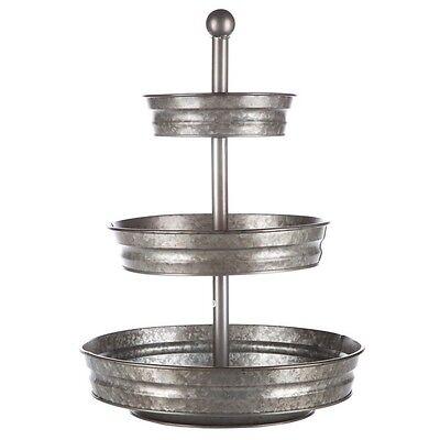 1x3 Tier Galvanized Round Metal Stand Outdoor Indoor Food Trey Fruits/Veggies