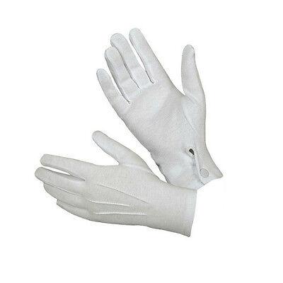 1Pair Short White Adult Men Gloves Tuxedo Honor Guard Parade Santa Inspection