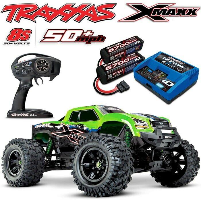 Traxxas X-MAXX 8S 4WD Brushless RTR Truck GREENX w/6700MAH 4S BATTS & CHARGER