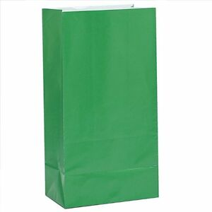 12-x-GREEN-PAPER-PARTY-BAGS-Birthday-Gift-Sweet-Treat-Loot-Favour-Goody-Bag