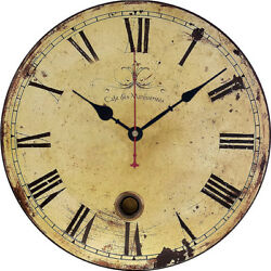 Vintage Rustic Wooden Table Hanging Wall Clock Antique Chic Retro Home Decor Art