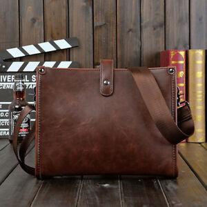 Men's Leather Shoulder Bag Messenger Crossbody Tablet Bags Handbag Satchel