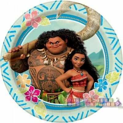 MOANA SMALL PAPER PLATES (8) ~ Birthday Party Supplies Dessert Cake Disney