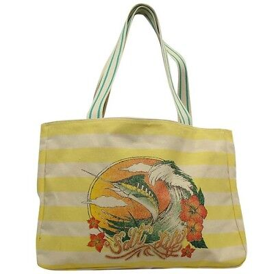 NWT SALT LIFE Yellow Striped MARLIN Beach Tote Bag Reusable ECO Cotton Surf