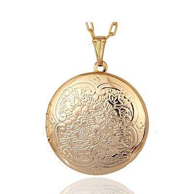 Gold Damen für 2 Foto Medaillon Kette Anhänger zum öffnen Amulett XXL Medaillon