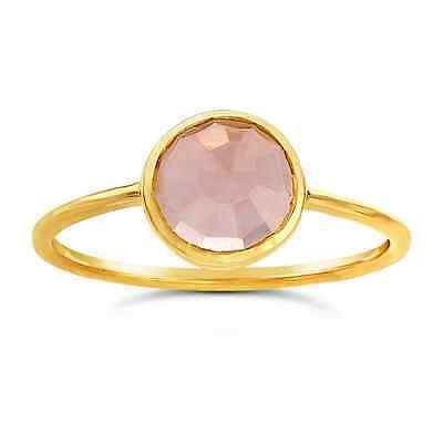 NEW LADIES 14k YELLOW GOLD ROUND ROSE CUT ROSE QUARTZ BEZEL SET STACKABLE RING