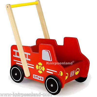Baby Lauflernhilfe Lauflernwagen Feuerwehr Laufwagen Holz Gehfrei Rutscher