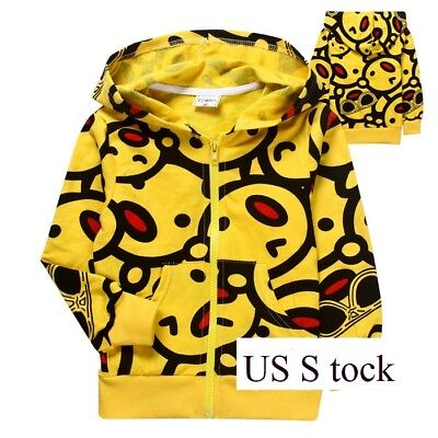 Kids Girls Boys Wink Emoji Zipper Hoodie Sweatshirt Jacket Halloween Costume O45 - Halloween Costume Emojis