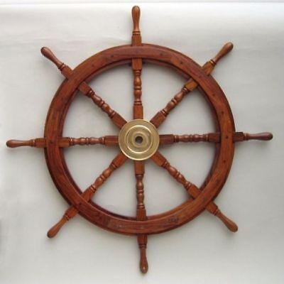 """SHIP WHEEL WOODEN 36""""D ~ WOODEN SHIP WHEEL ~ PIRATE DECOR ~ NAUTICAL"""