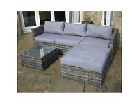Outdoor Grey Rattan 4 Seat Corner Sofa + Footstool + Coffee Table Brand New in Box