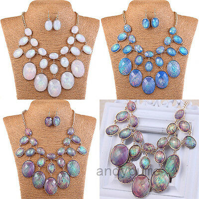 New-Jewelry-Abalone-Shell-Oval-Bead-Bib-Bubble-Statement-Necklace-Earrings-Set