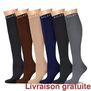 6 paires de bas de compression pour homme et femme (15-20 mmHg)- large/extra large