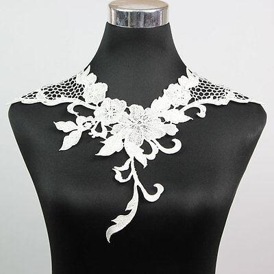 1 x Fashion White Polyester Collar Lace Trims Bridal Dress Fabric Embellishments