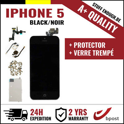 A+ LCD TOUCH SCREEN SCHERM ÉCRAN ASSEMBLY BLACK NOIR +VERRE TREMPÉ FOR IPHONE 5