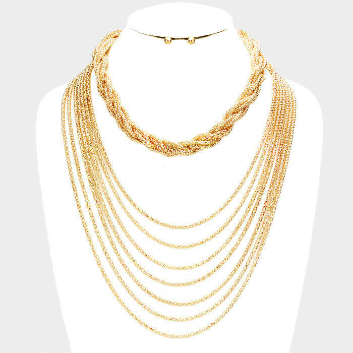 HOT Statement Gold Long Layered Necklace Body Chain By Rocks Boutique