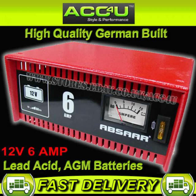 Absaar 12v 6 Amp Car Motorcycle Bike Metal Case Lead Acid AGM Battery Charger