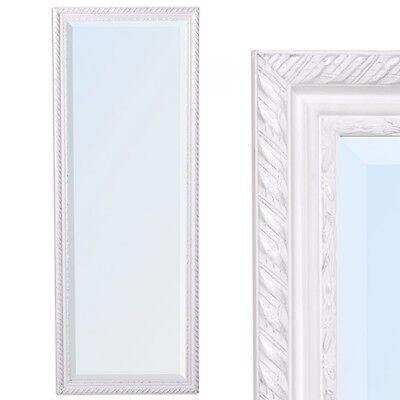 Wandspiegel barock weiss-silber antik Design Spiegel STRIPE 140x50cm Holzrahmen