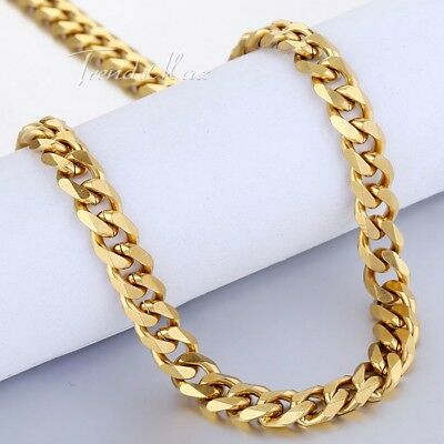 7mm Gold Tone Necklace for Mens Boys Curb Cuban Link Stainless Steel Chain  (Boys Link)