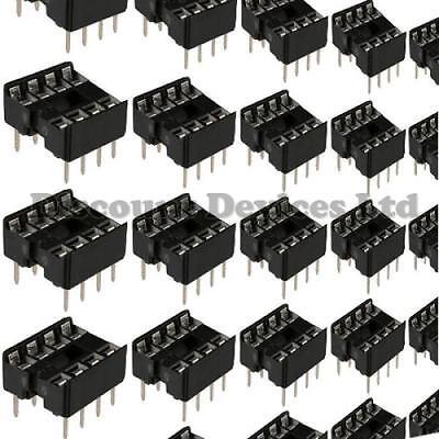 "10x 8 Pin RoHS PCB IC Socket DIL/DIP 8 0.3"""