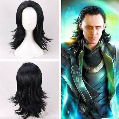 Thor Avengers Kostüme (The Avengers Thor Loki Schwarz Perücke Black Wig Cosplay Costume Kostüme Neu New)