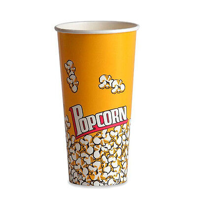 Popcorn Supplies - Yellow Popcorn Cups Tubs 24oz Qty Of 100