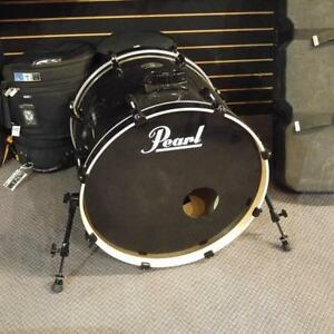 "Pearl Vision Birch Black Bass Drum 22"" x 18"" grosses caisses noires usages-used"