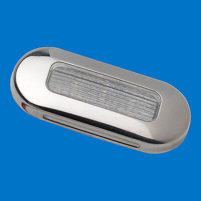 LED Boat/Caravan/Motorhome - Oblong Courtesy - Stainless  Warm White LEDs 10-30V