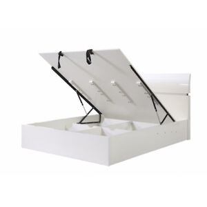 White High Gloss Contemporary Bed with Lift-up Storage