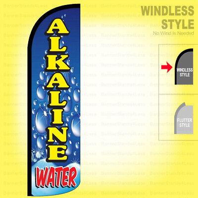 Alkaline Water - Windless Swooper Flag 3x11.5 Ft Tall Feather Banner Sign Bq