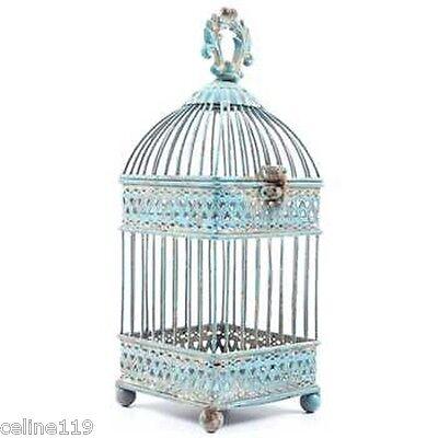 Antique Blue Square Iron Bird Cage. Shabby-chic Home Decor Gorgeous