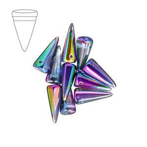 Czech Glass Spike Beads 7x17mm Crystal Magic Blue Pack of 10 (M39/2)