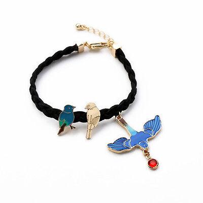 Kiss me Blue Enamel Bird Rope Bracelet Pulseras Mujer for Women sl00284
