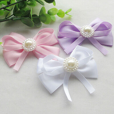 18pcs  8CM Large Satin Ribbon Flowers Bows w/pearl Wedding Decor Lots - Large Ribbon Bows
