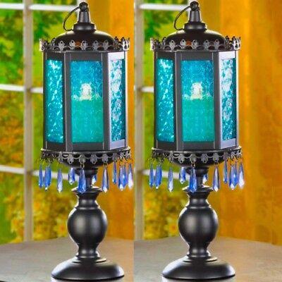2 Exotic Candelabra Tall Blue Lantern Candleholder Large Wedding Centerpieces](Tall Wedding Centerpieces)