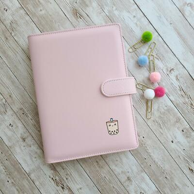 A5 Bubble Tea Binder Cute Pink Boba Personal Planner Folder Pu Leather Notebook