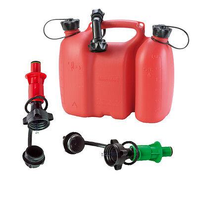 Doppelkanister rot 3+1,5 Liter inkl. 3 Ausgiesser 2x Sicherheits-Einfüllsystem