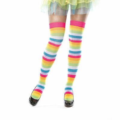 Strümpfe bunt geringelt Regenbogen, Clownkostüm Zubehör Karneval Overknees - Candy Clown Kostüm