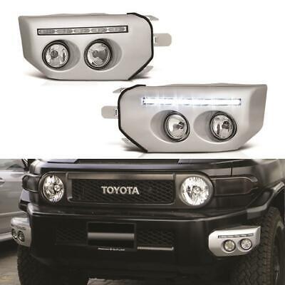 For 2007-2014 Toyota FJ Cruiser Chrome LED Front Fog Lights Driving Lamps+Switch