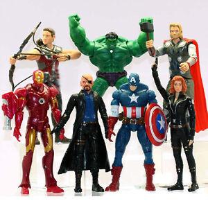 7 pcs The Avengers Action Figure Marvel Hulk Captain Spiderman Iron man Thor Set