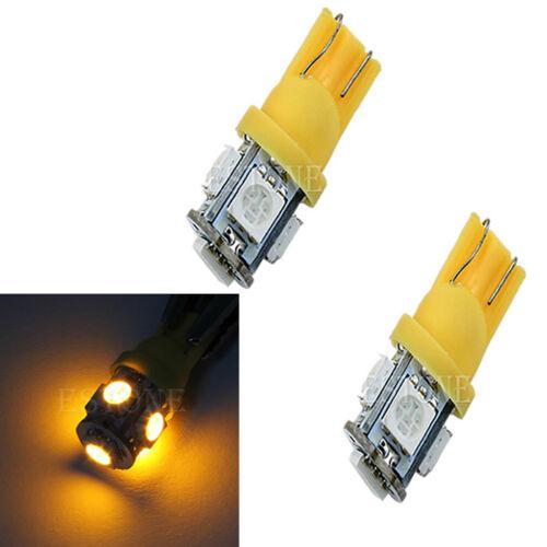 2x T10 5-LED 5050 SMD 194 168 W5W Wedge Light Bulb Car Tail Lamp Amber