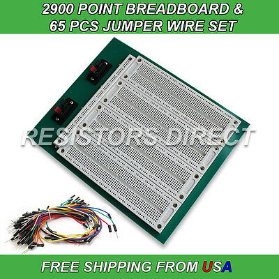 2900 Point Breadboard 65pcs Jumper Wire Solderless Pcb Prototyping New