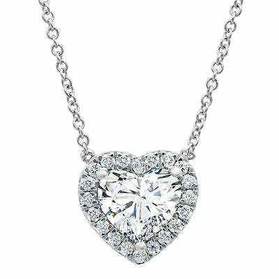 """Halo Pendant 1CT G/SI2 14K White Gold Heart Shape Cut Solid 18"""" Necklace GIA"""