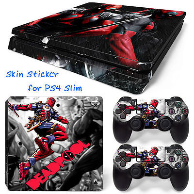 Skin Decal Cover Sticker for Sony PS4 Slim -marvel  Deadpool 004 free shipping