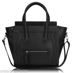 Women Ladies Faux Leather Celebrity Tote Smile Face Bag Shoulder Bucket Handbag