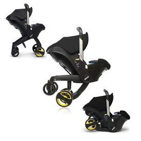 Doona car seat pram stroller black with rain cover