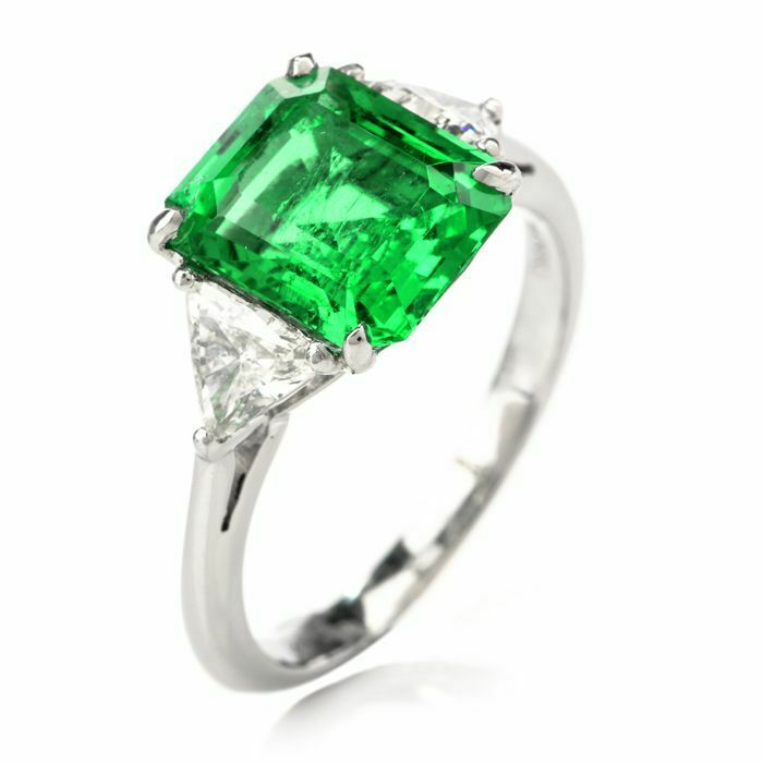 18K White Gold Plated Created Emerald CZ Princess Cut Green Emerald Elements Fashion Jewelry