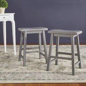"Grey finish 24"" Saddleback stool x2"