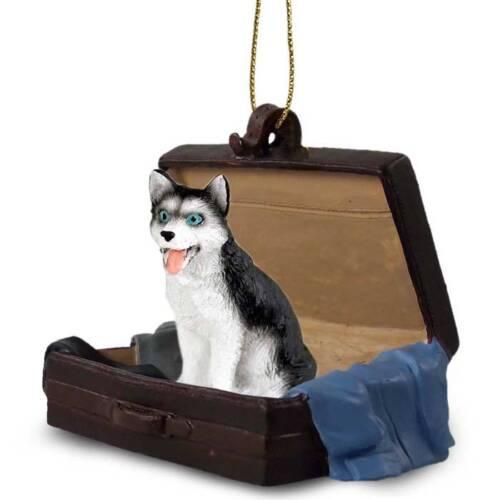 Husky Blk Wht Blue Eyes Traveling Companion Dog Figurine In Suit Case Ornament